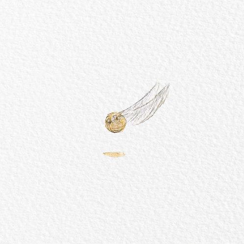"Tiny original painting 1"" Golden snitch"