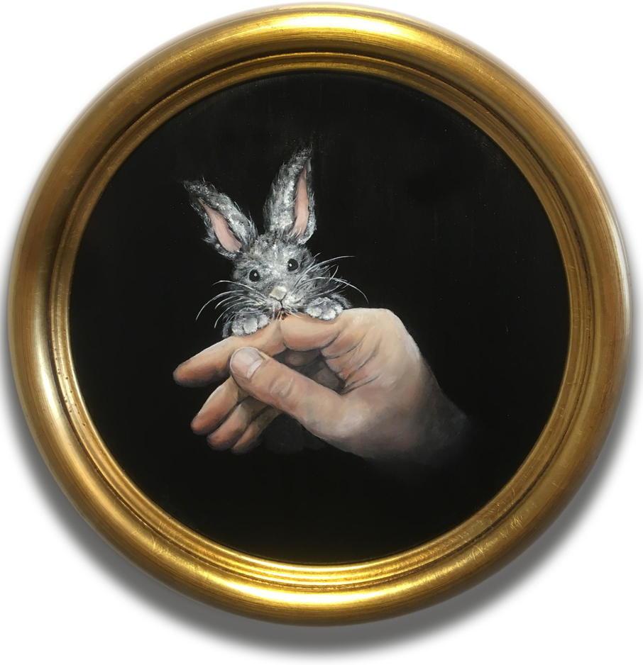 Lapin sur la main - animal bunny rabbit painting Lucie Schrimpf