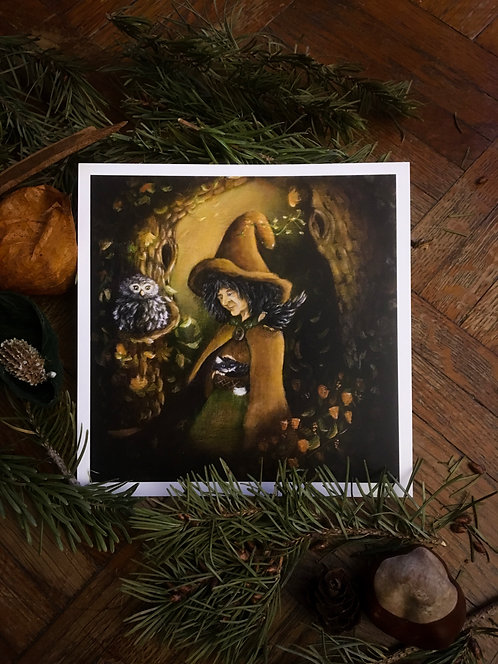 """Postcard """"Maga Physalis the Witch"""" Lucie Schrimpf"""