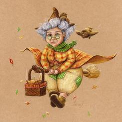Autumn witch sorciere broom lucie schrimpf