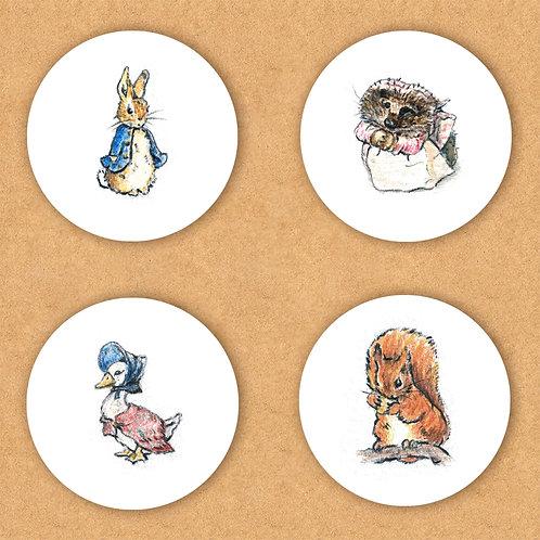 SET of 4 Stickers Vinyl - Beatrix Potter