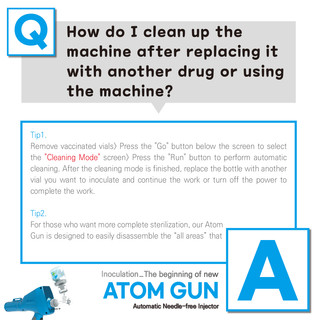 How do I clean up the machine after replacing it with another drug or using the machine?