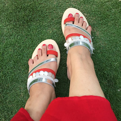 Red bohemian slippers
