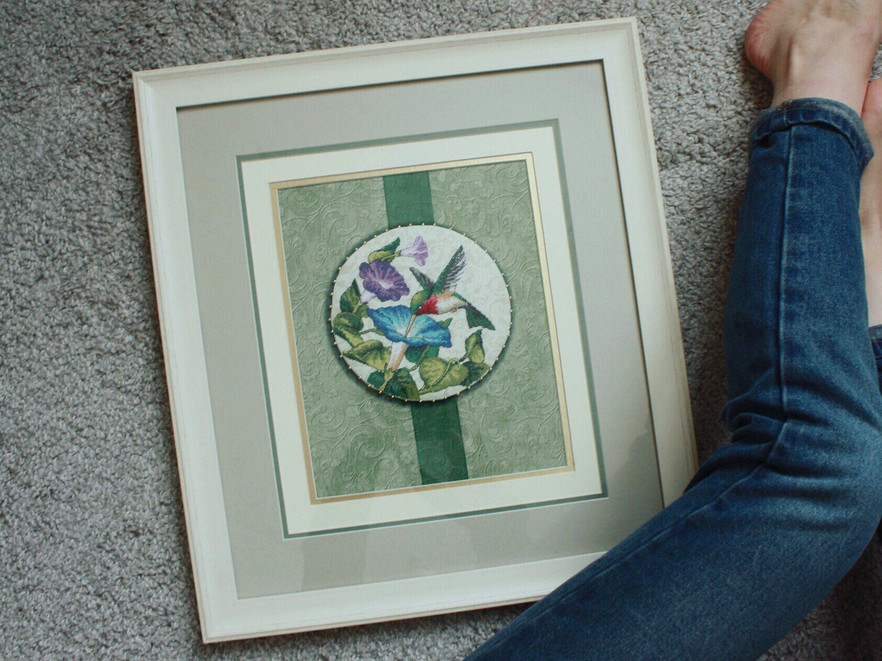 оформление вышивки в пластиковую раму с 4 видами паспарту и стеклом