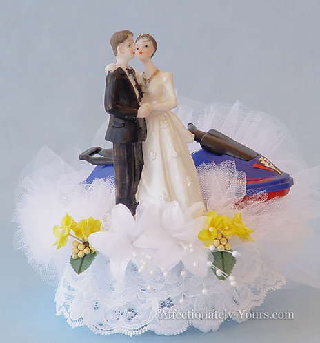 Jet Ski Bride and Groom Customized Wedding Cake Topper