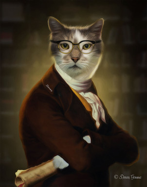The Historian Period Style Pet Portrait Painting