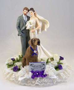 Bride Groom With Dog Wedding Cake Topper