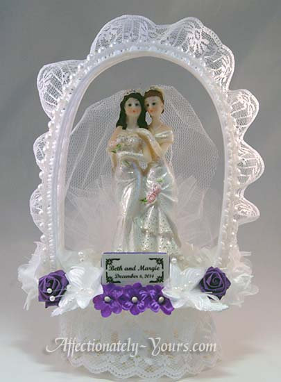 Devotion Two Brides Same Gender Customized Wedding Cake Topper