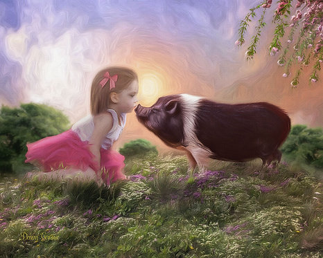 Girl Child and Pig Sharing Cute Kiss Digital Oil Painting