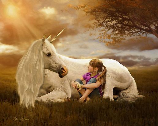 Magical Unicorn Fairytale Child Portrait