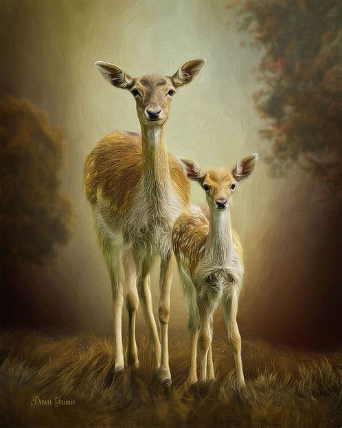 Mama Doe and Baby Fallow Deer Digital Oil Wildlife Painting