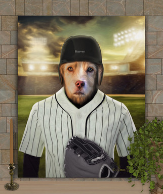 Baseball Player Custom Pet Portrait Painting