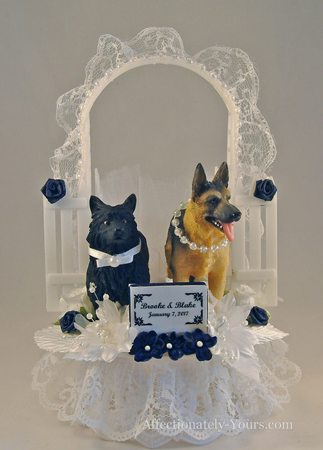 Pedigree Nuptials Dog-Cat Bride and Groom Custom Wedding Cake Topper
