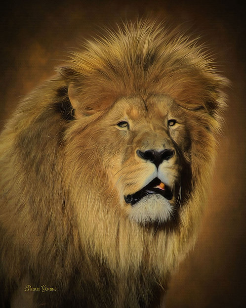 Portrait of a True King Lion Digital Oil Wildlife Painting