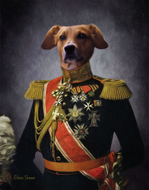 Decorated Soldier Period Style Custom Pet Portrait Painting
