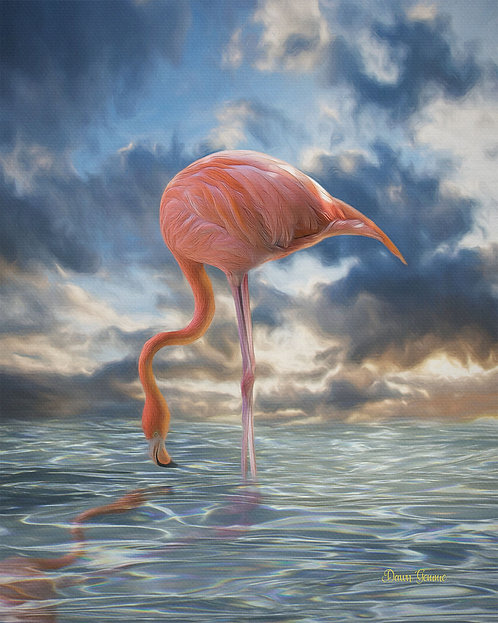 Flamingo Reflection Digital Oil Painting