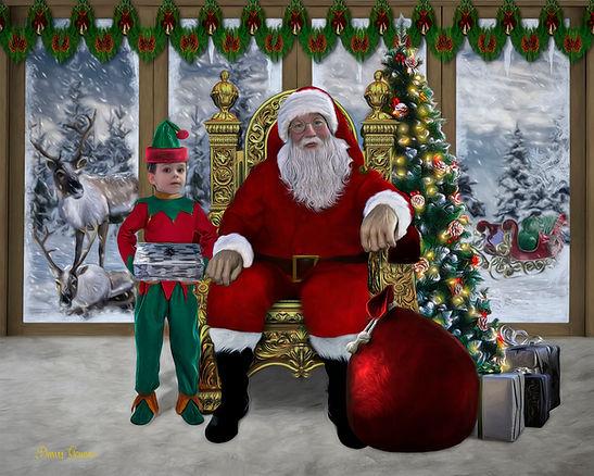 Santa Land Custom Child Elf Holiday Portrait Painting