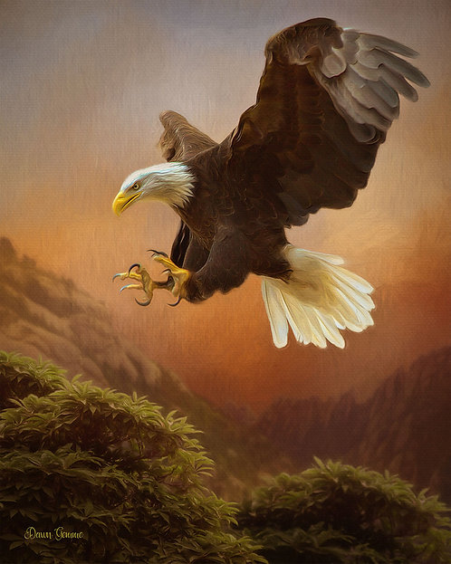 Eagle In Flight Wildlife Digital Oil Painting