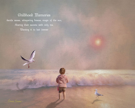 Pastel Child at Beach Digital Oil Painting