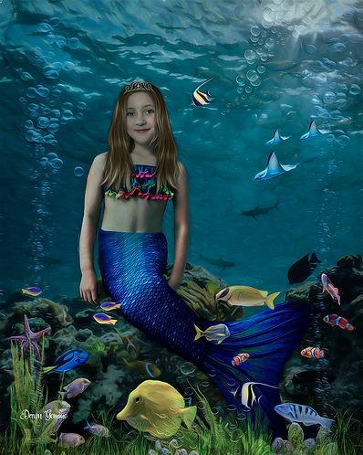 Mermaid Custom Girl Child Fairytale Portrait