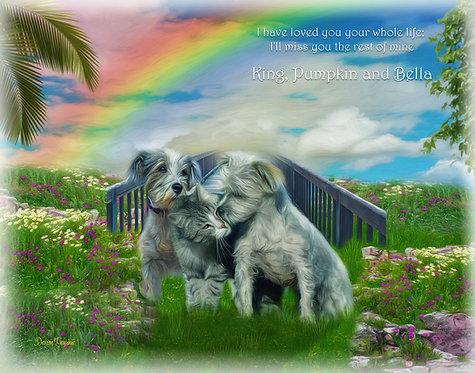 Sky Rainbow Bridge Pet Memorial Portrait Painting