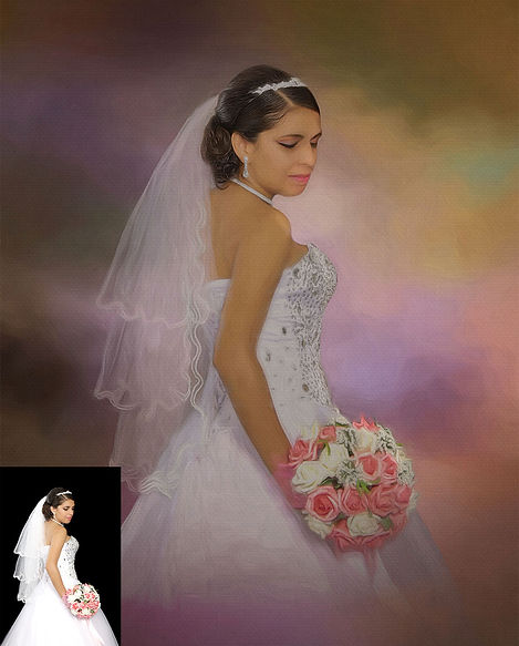 Pastel Background Custom Digital Oil Wed