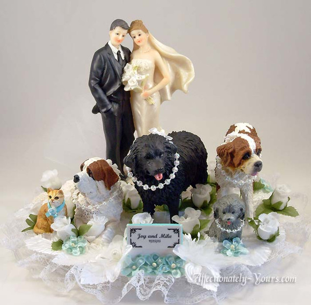 Yours Mine Ours Dogs Cats Pets Custom Wedding Cake Topper