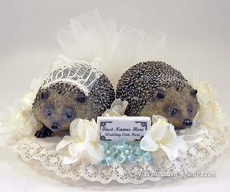 Hedgehog Bride and Groom Custom Wedding Cake Topper