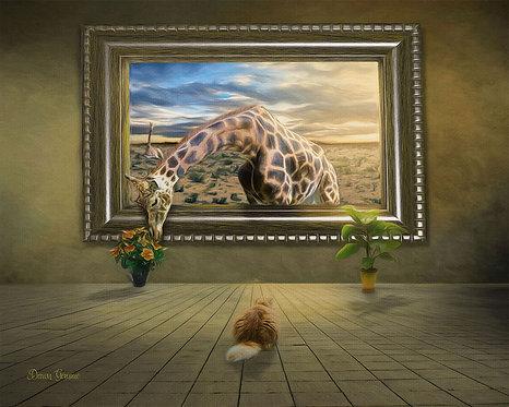 Giraffe Living Art Gallery Digital Oil Painting