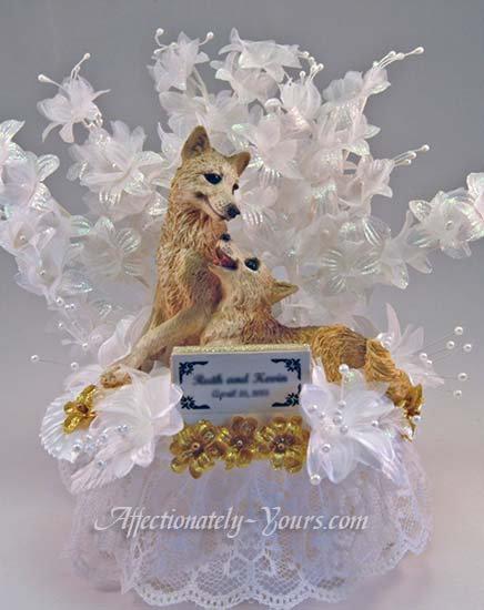 Animal Lovers Bride - Groom Custom Wedding Cake Topper