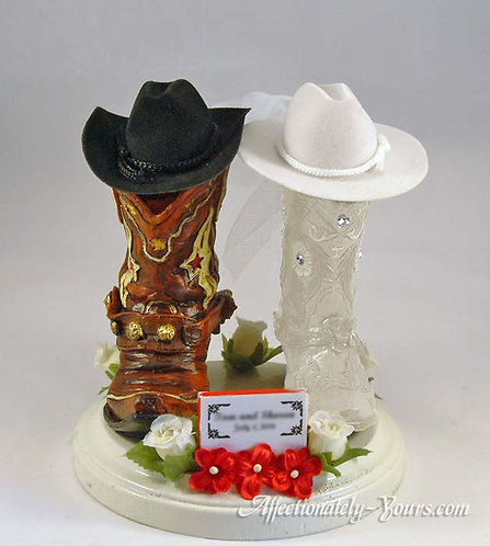Western Cowboy Groom Cowgirl Bride Boots Customized Wedding Cake Topper