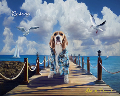 Seaside Pier Custom Pet Portrait Painting