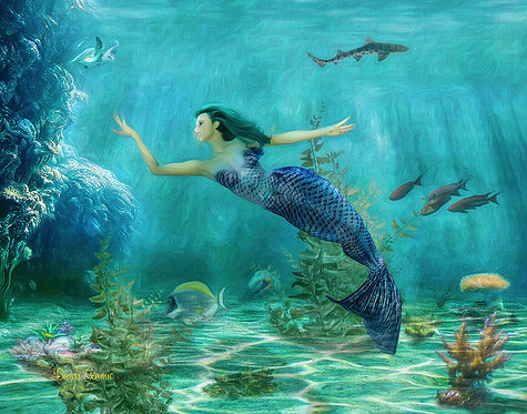 Mermaids World Childs Fantasy Digital Oil Painting