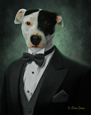 Handsome Groom In Tux Custom Pet Portrait Painting