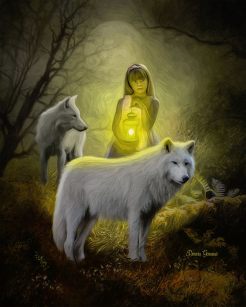 Safe Passage Child and Wolf Fantasy Digital Oil Painting