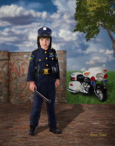 Police Girl Custom Child Fairytale Portrait