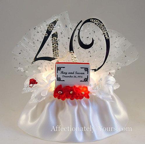 Glittering Anniversary Customized Cake Topper