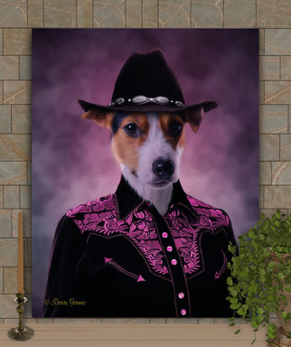 Cowgirl Custom Pet Portrait Painting