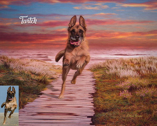 Beach Boardwalk Custom Dog Cat Pet Portr