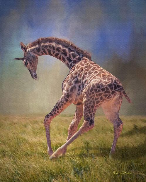 Playful Baby Giraffe Digital Oil Wildlife Painting