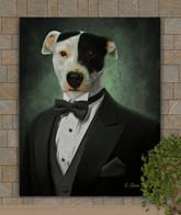 Handsome Gentleman In Tux Custom Pet Portrait Painting