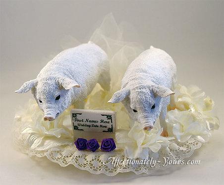 Pig Bride and Groom Custom Wedding Cake Topper