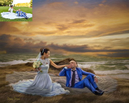 Ocean Sunset Custom Wedding Portrait Painting