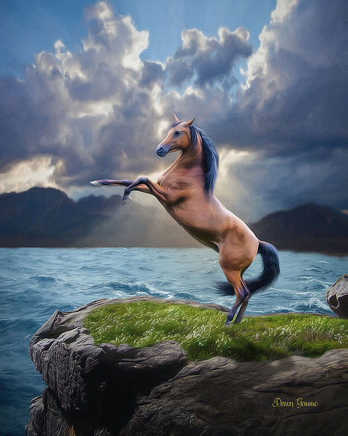 Rearing Horse and Gathering Storm Digital Oil Painting