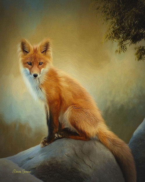 Canyon Fox Digital Oil Wildlife Painting