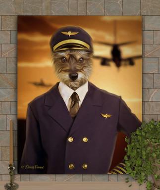 Airline Pilot Costume Custom Pet Portrai