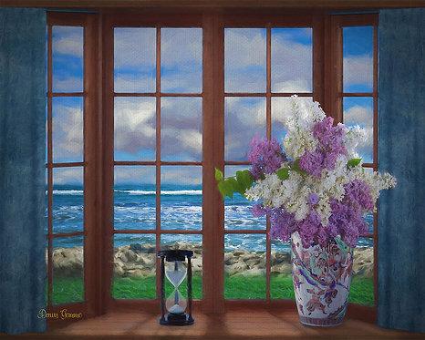 Bay Window Ocean View Digital Oil Painting