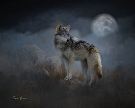 Night Stalker Wolf and Moon Digital Oils Wildlife Painting
