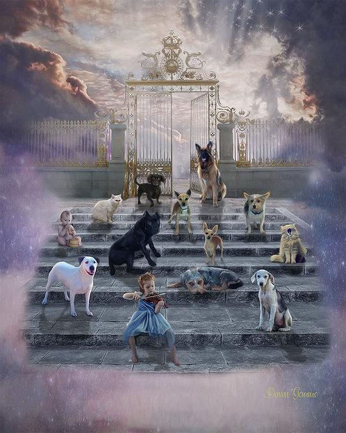 Where Pets Wait In Heaven Digital Oils Fantasy Painting