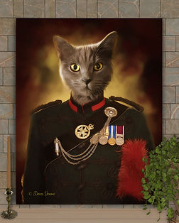 Officer Hiram Period Style Custom Pet Portrait Painting